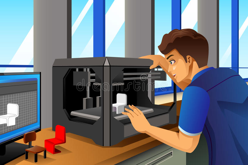Man Using a 3D Printer. A vector illustration of male architect using a 3D printer in office stock illustration
