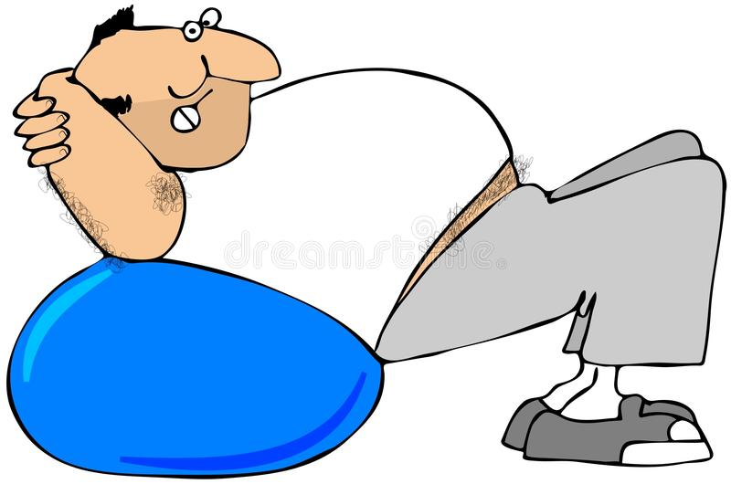 Download Man Using Exercise Ball stock illustration. Illustration of hairy - 22564410
