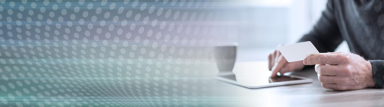 Online payment concept. panoramic banner. Man using his credit card for online payment. panoramic banner royalty free illustration