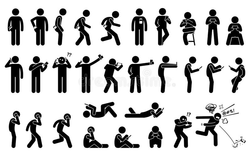 Man using, holding, and carrying phone or smartphone in different basic position and postures. royalty free illustration