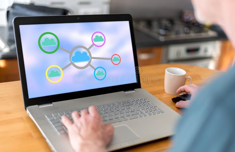 Cloud networking concept on a laptop royalty free stock images