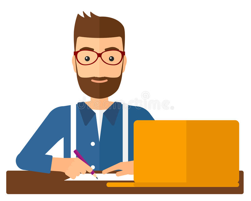 man using laptop for education stock vector illustration of rh dreamstime com Cell Phone Vector Transparent Computer Vector