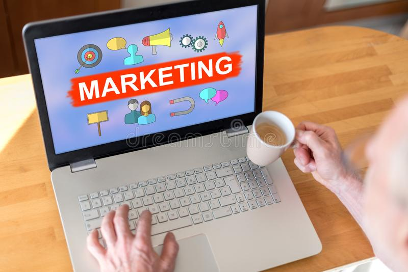Marketing concept on a laptop stock photography