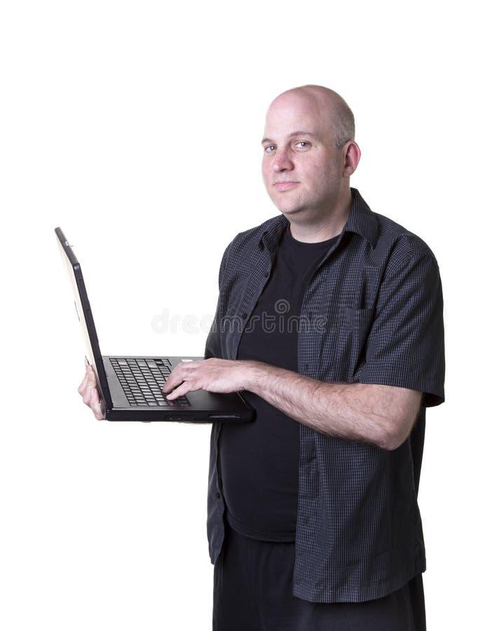 Download Man using laptop stock image. Image of bald, using, white - 31790491