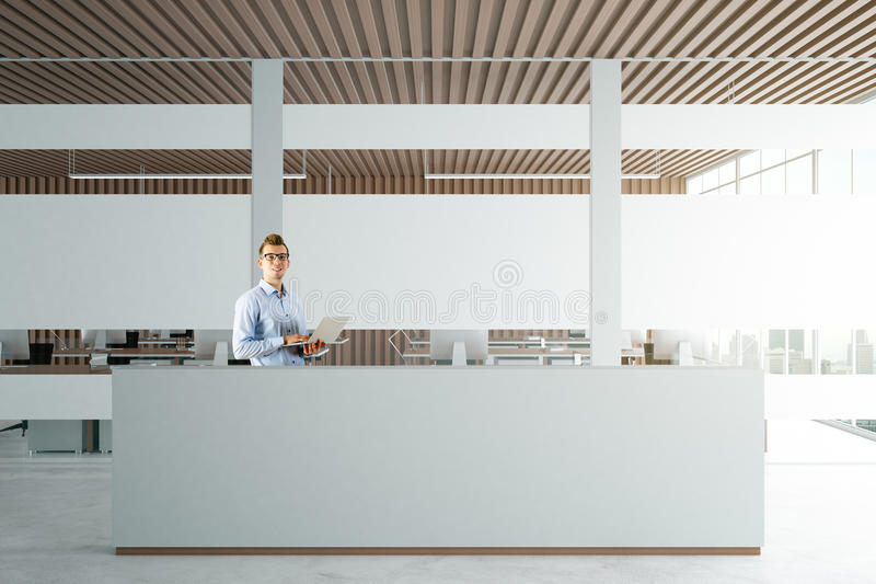 Download Man Using Laptop At Reception Stock Image   Image Of Front,  Architecture: 90118677