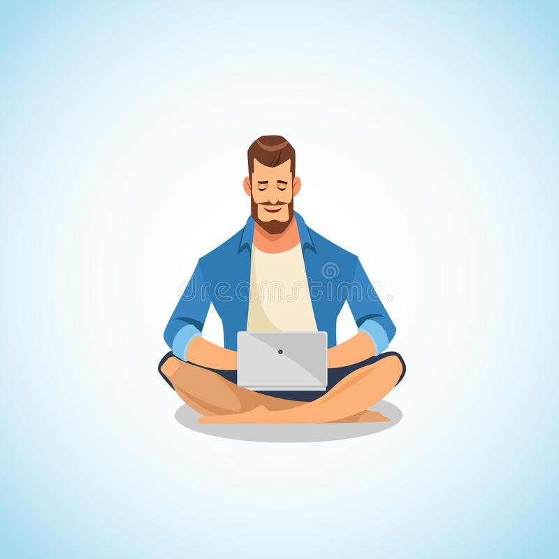 Man Using Laptop for Work and Fun Cartoon Vector royalty free illustration