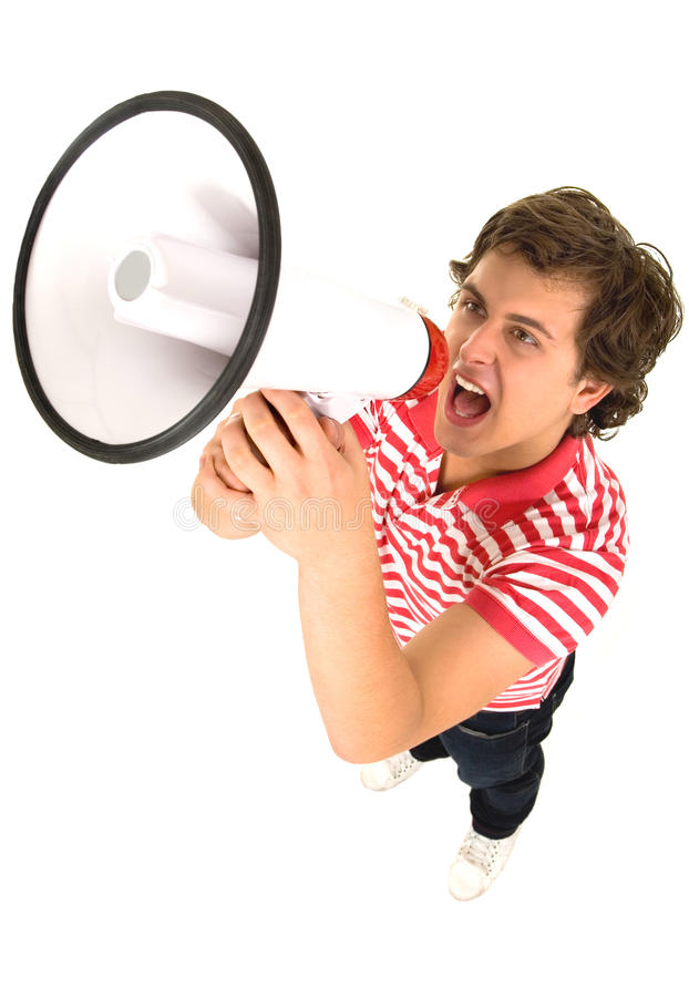 Download Man Using a Megaphone stock photo. Image of angle, news - 12213630