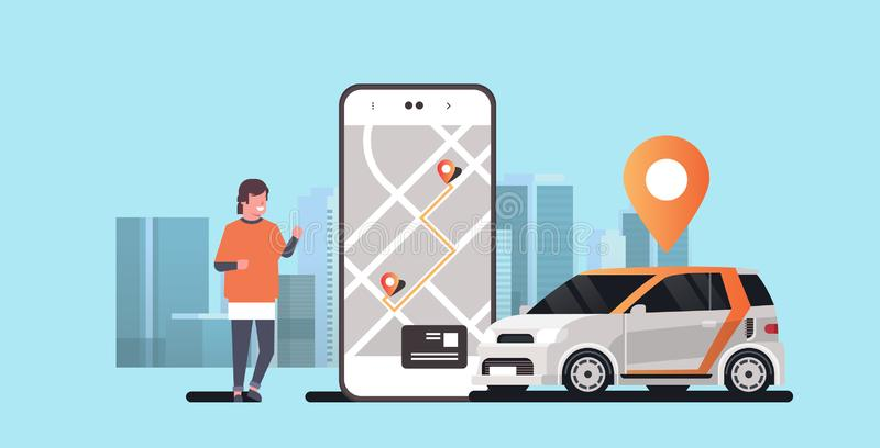 Man using mobile app ordering automobile vehicle with location mark rent car sharing concept transportation carsharing. Service modern cityscape background vector illustration