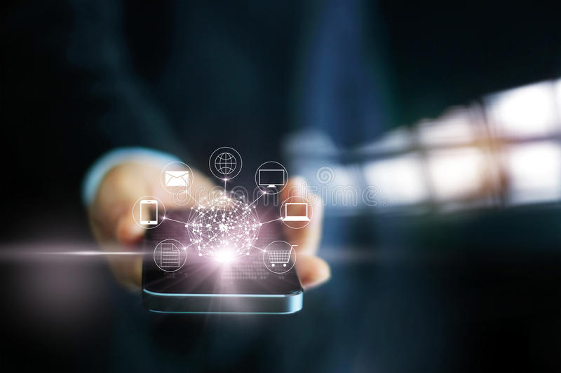 Man using mobile payments, holding circle global and icon customer network connection. Omni Channel stock image