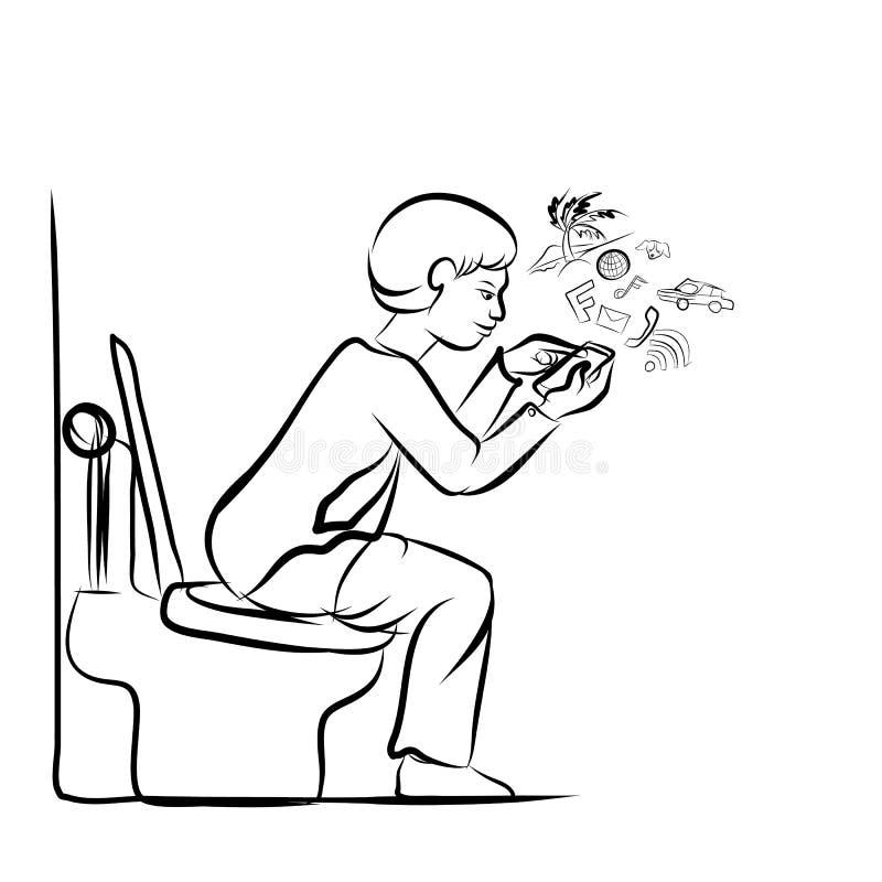 Man Using Mobile Phone For Social Network In Toilet Stock Vector ...