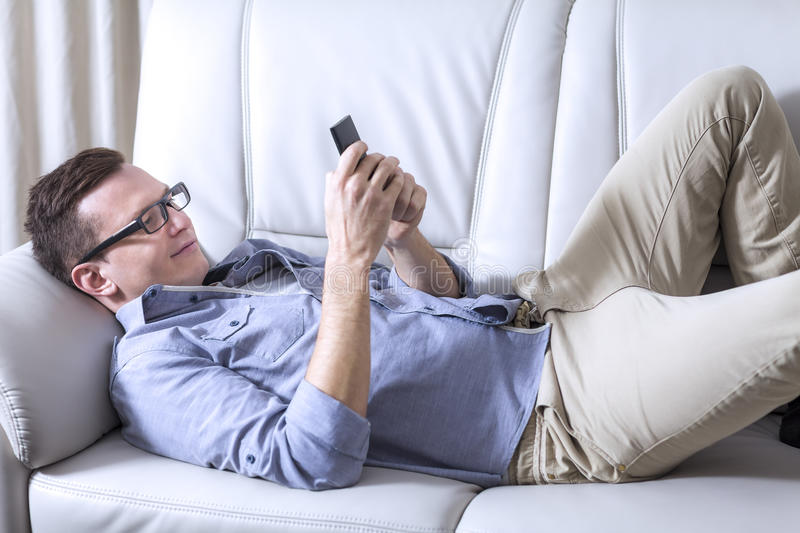 Man using a mobile phone royalty free stock photography