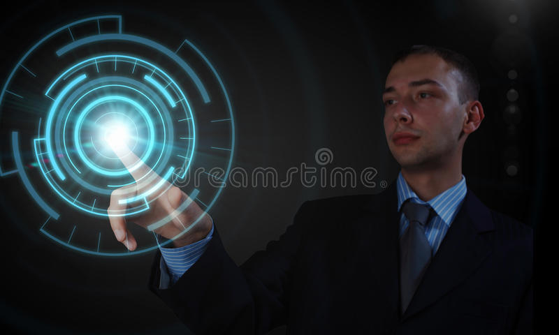 Man using modern technologies royalty free stock photo