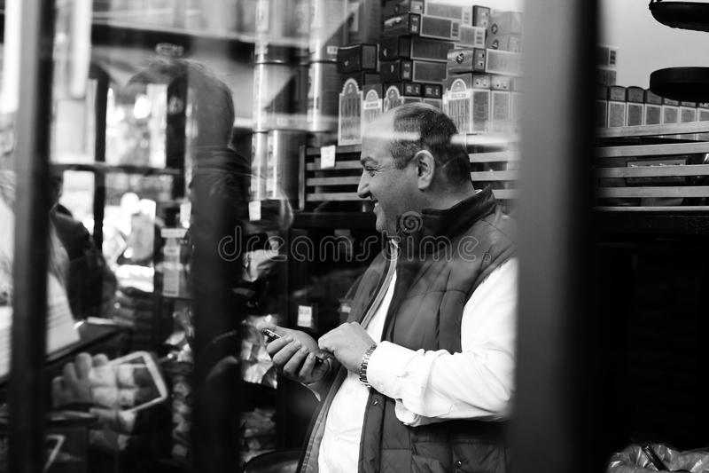 Man using phone royalty free stock image