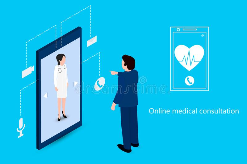 Man using a phone to meet with a doctor stock illustration