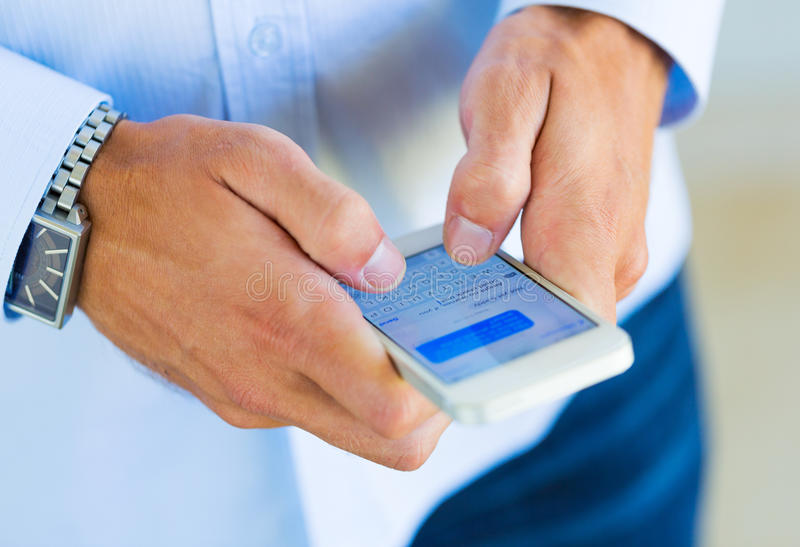 Man Using Smart Phone Stock Photos