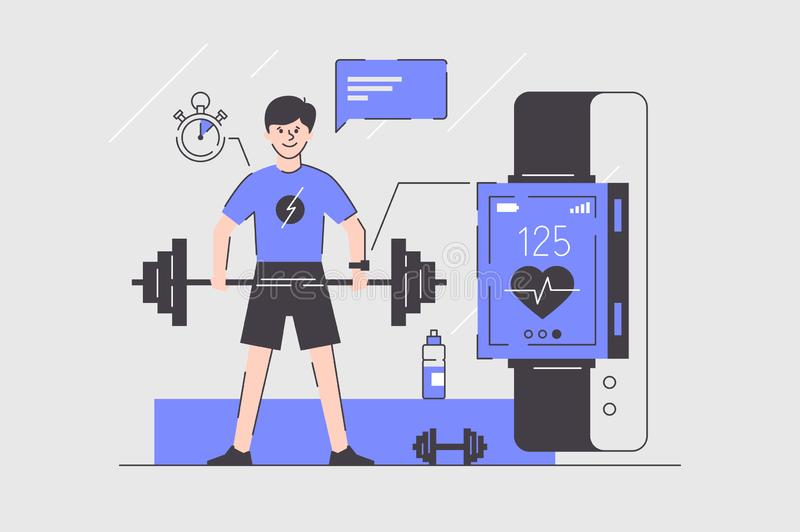 Man using smart watches. Illustration. Sportsman doing sports with special tracking gadget complete positive impact from intense training program flat style royalty free illustration