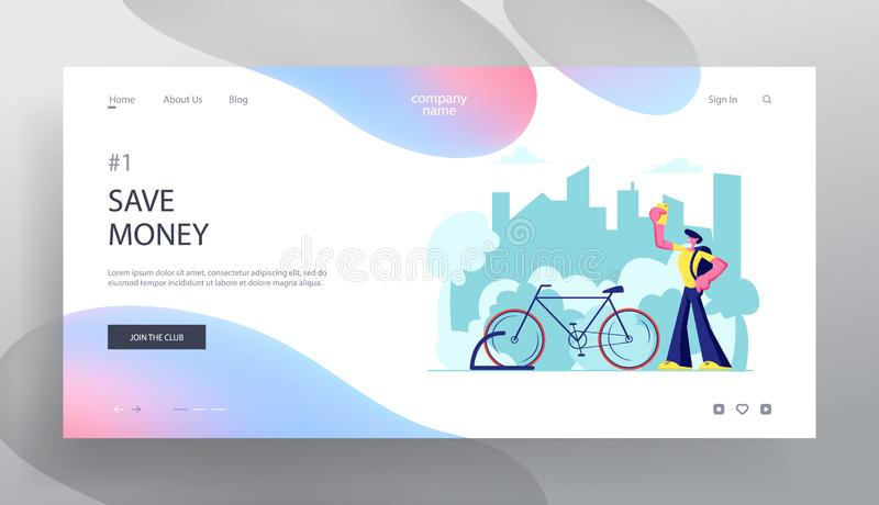 Man Using Smartphone App for Bike Rent Service Searching in Big City. Traveling Tourist, Citizen Sports Life, Eco Transport. Website Landing Page, Web Page royalty free illustration