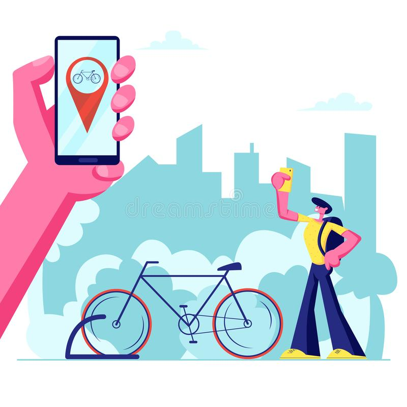Man Using Smartphone Application of Bike Rent Service Searching in Big City. Hand Holding Phone with Bicycle Geolocation Gps Mark. Traveling, Sports Life stock illustration