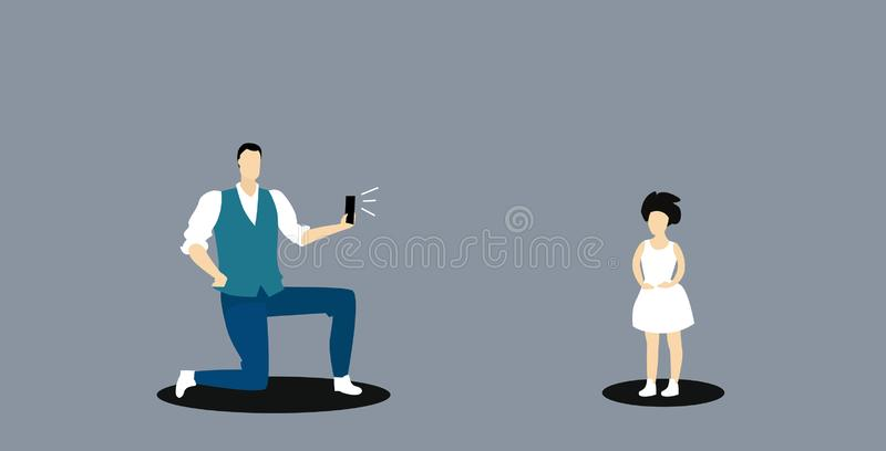 Man using smartphone camera father standing on knee taking photo of little girl model fashion shoot concept sketch. Doodle horizontal full length vector vector illustration