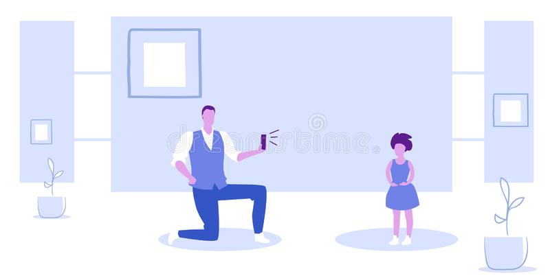 Man using smartphone camera father standing on knee taking photo of little girl model shoot concept sketch horizontal. Full length vector illustration vector illustration