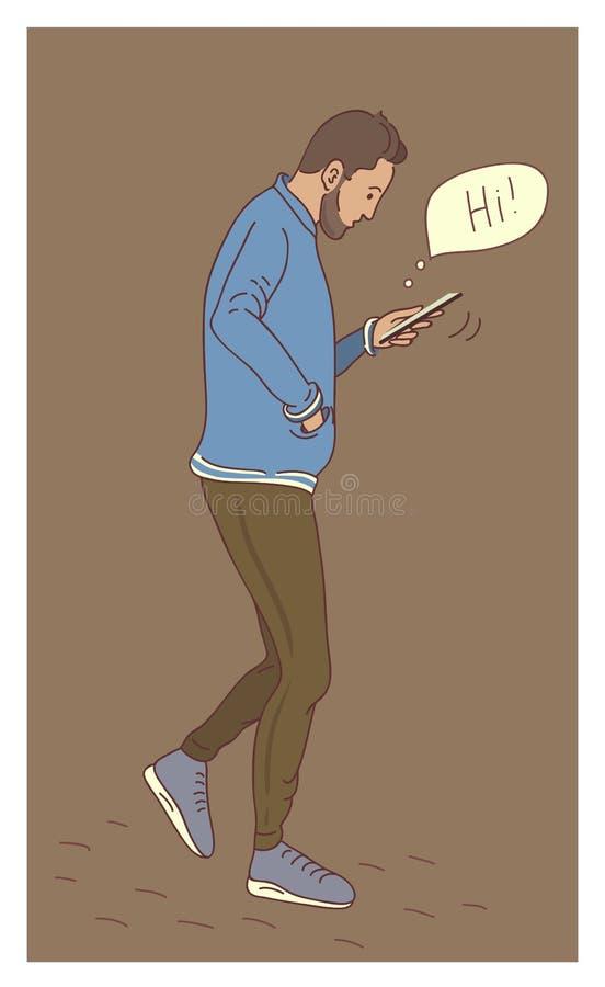 Man using smartphone flat design cartoon royalty free illustration