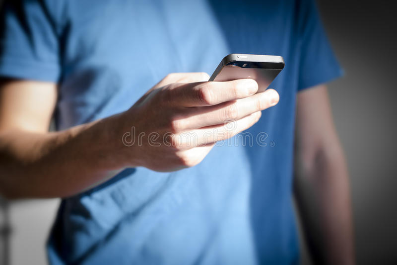 Man using smartphone. stock photo