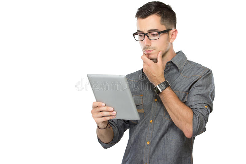 Man using tablet pc stock photos