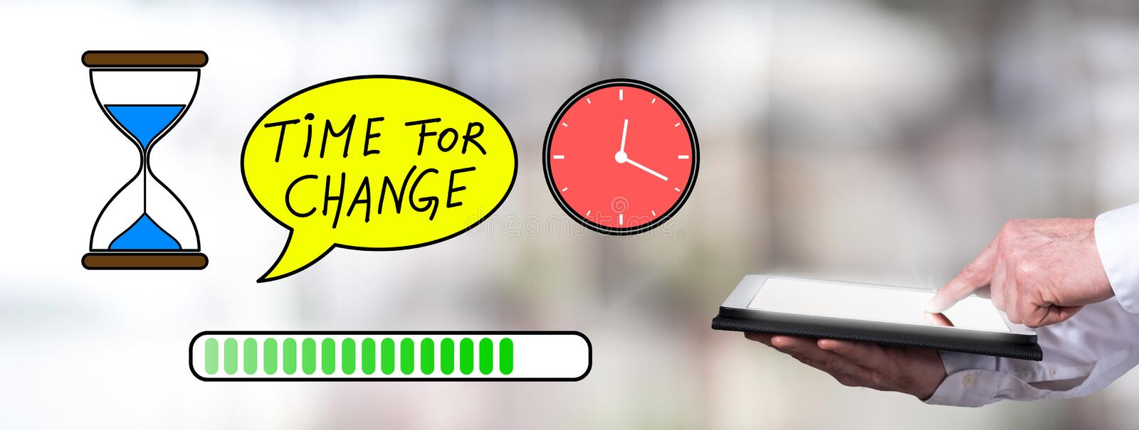 Time for change concept with man using a tablet royalty free stock image
