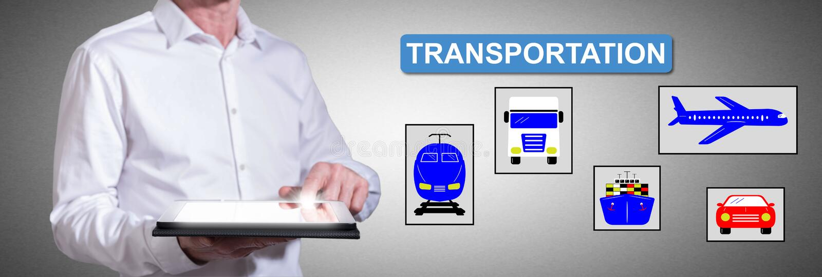 Transportation concept with man using a tablet stock photos