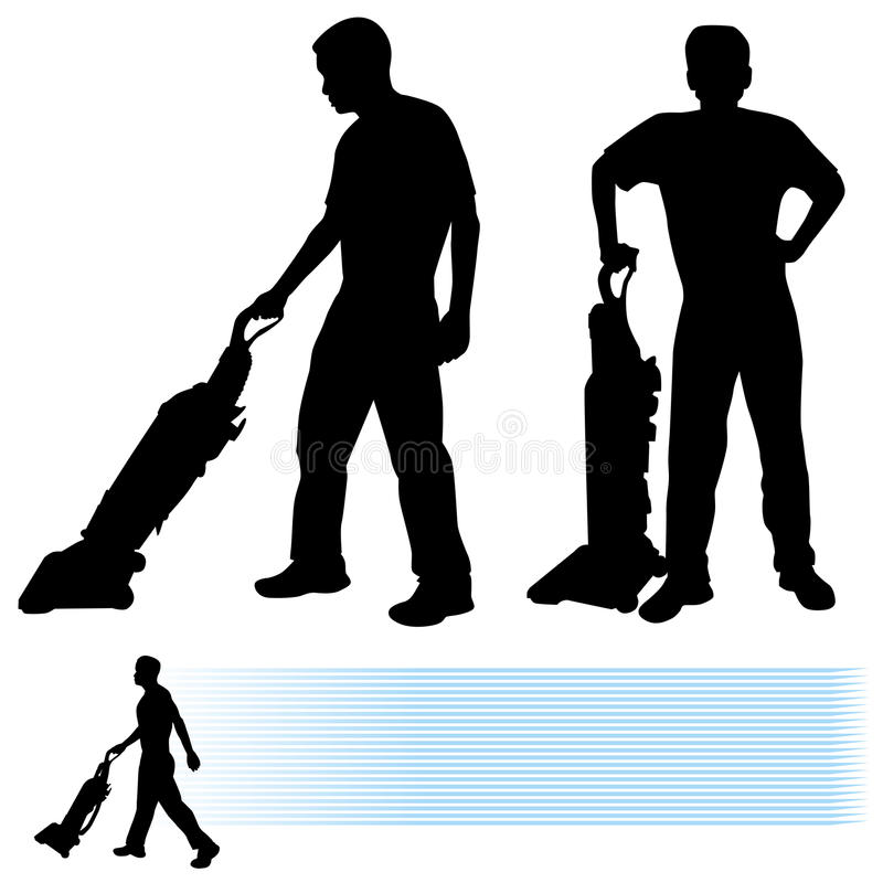Download Man Using Vacuum Cleaner stock vector. Image of outline - 23688385