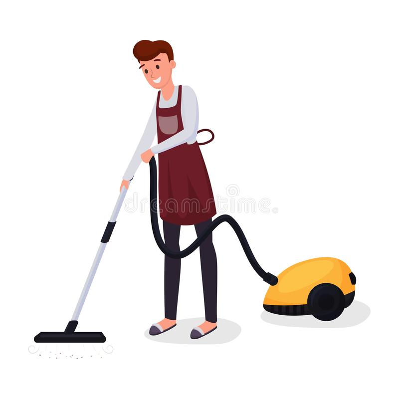 Man using vacuum cleaner flat character. Husband cleaning carpet, doing housework, domestic chores, everyday routine royalty free illustration