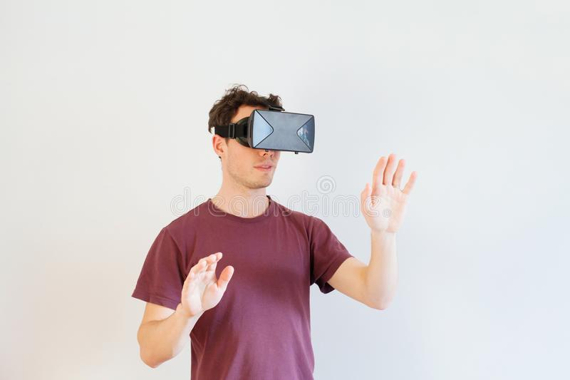 Man using virtual reality glasses, VR royalty free stock photos