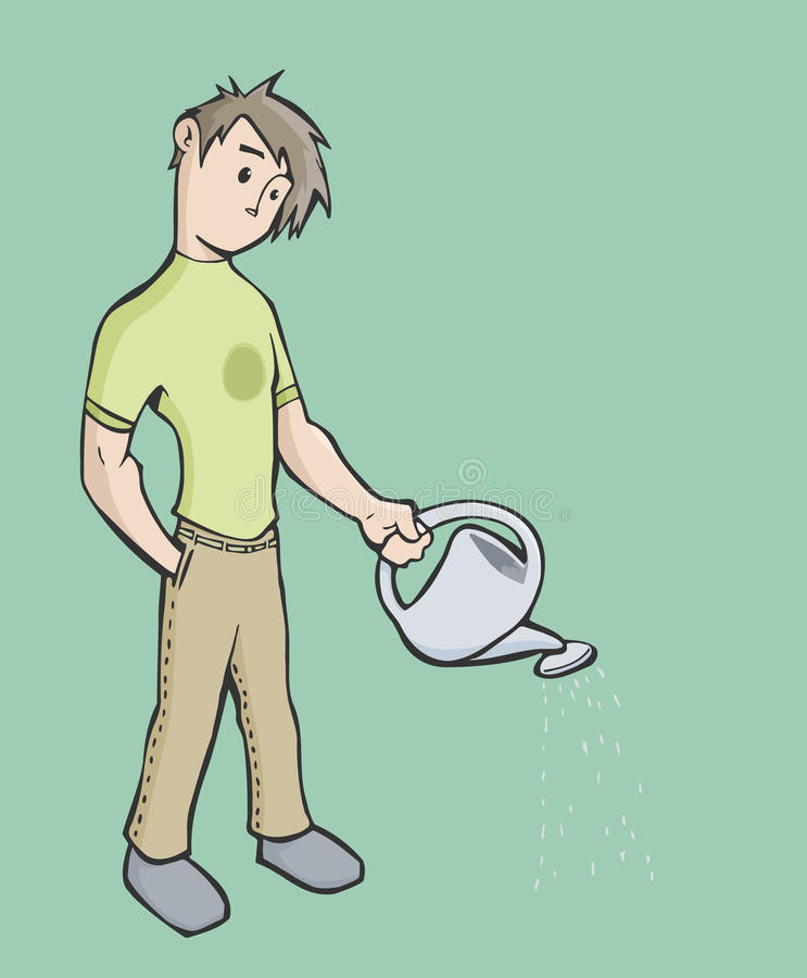 Man using a watering can stock illustration