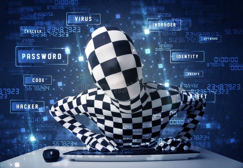 Man utan identiteten som programmerar i teknologimiljö med cy arkivbild