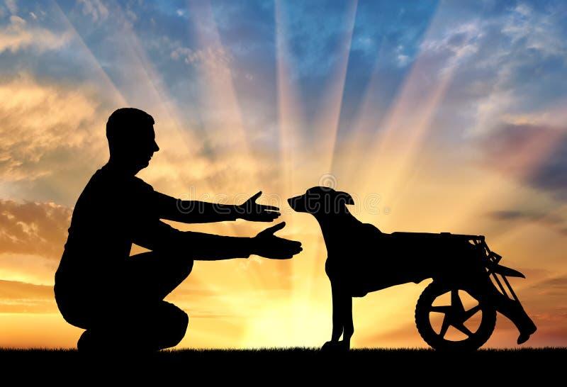 Man utomhus på en kulle, appeller för en lam hund i en rullstol royaltyfria foton