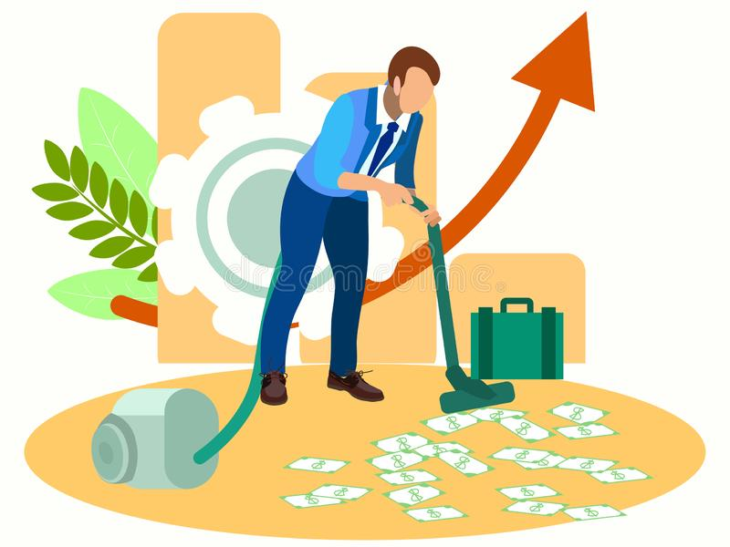 Man vacuuming money. In minimalist style Cartoon flat raster royalty free stock photos