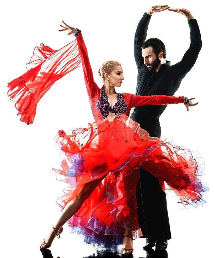 Man van de de balzaaltango van het vrouwenpaar van de salsadanser het dansende silhouet royalty-vrije stock foto