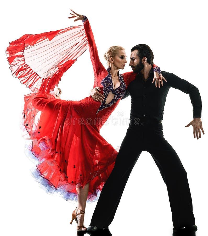 Man van de de balzaaltango van het vrouwenpaar van de salsadanser het dansende silhouet royalty-vrije stock afbeelding