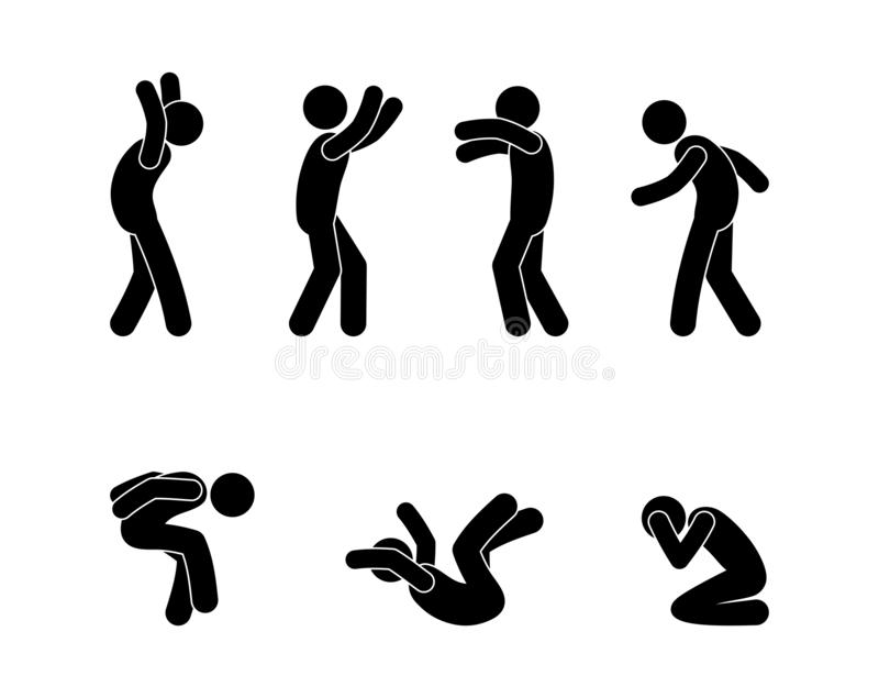 Man in various poses and gestures icon set. Stick figure pictogram human silhouette waving hands. vector illustration