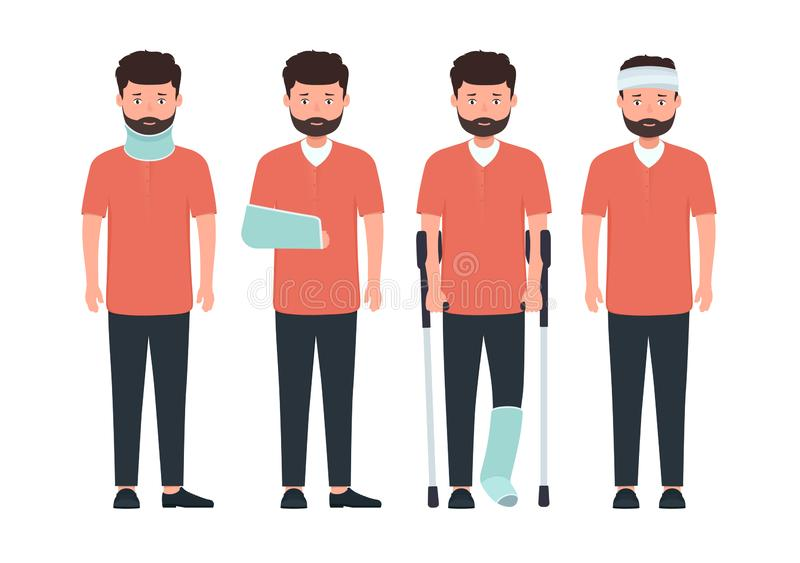 Man with various types of injuries. Character with  broken leg, arm and neck in cast stock illustration
