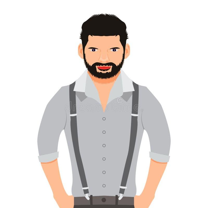 Man vector illustration, cartoon, icon, face stock illustration