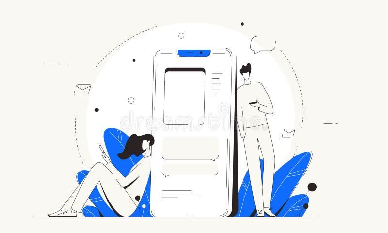 Man vector van vrouwen deelt de sociale netwerken telefoon mee vector illustratie