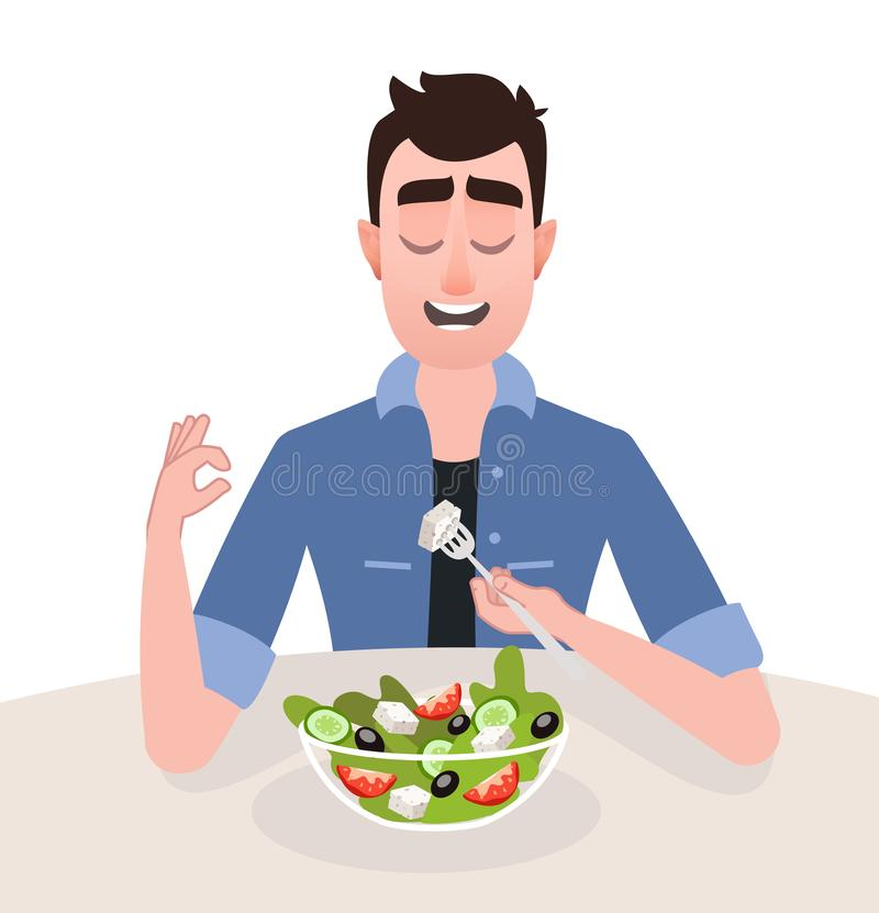 Man vegetarian is eating a greek salad royalty free illustration