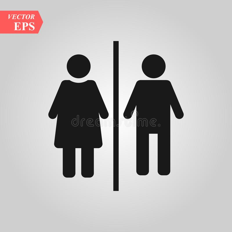 man vektorn för kvinnatoalettsymbolen, könsbestämmer genus flicka, pojke WC illustration för vektor för dörrplattasymbol för reng stock illustrationer