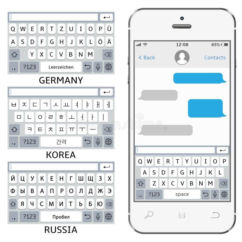 Man?verenhet f?r vektortelefonpratstund Sms budb?rare Faktiska tangentbord f?r mobiltelefon: Engelska korean, tysk, ryskt alfabet stock illustrationer