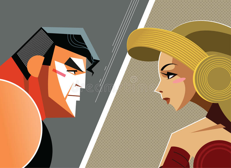 Man versus woman. Danger Conflict. Superheroes. Vector illustration stock illustration