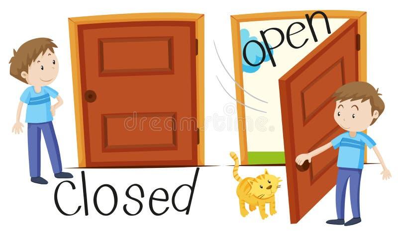 Man vid den stängda och öppnade dörren royaltyfri illustrationer