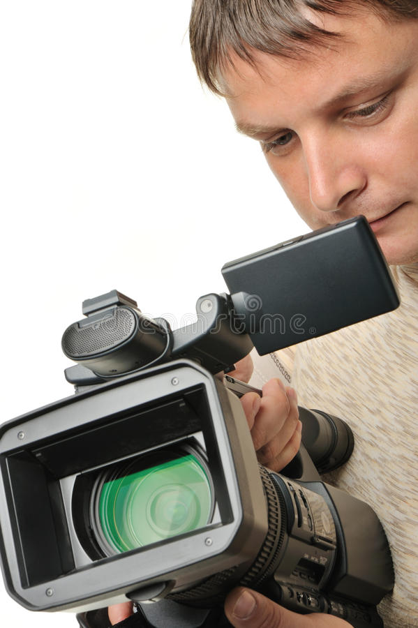 The man with a videocamera stock image