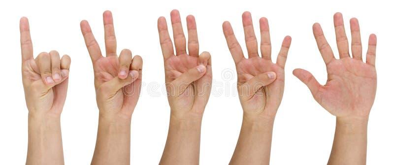 Man vinger die van één tot vijf richt stock foto