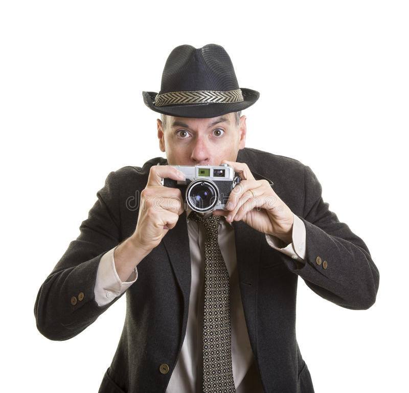 Man with a vintage film camera royalty free stock photos